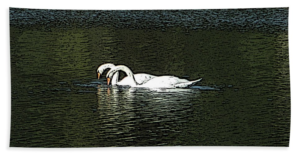 Swans Hand Towel featuring the photograph Swans by Kevin Caudill