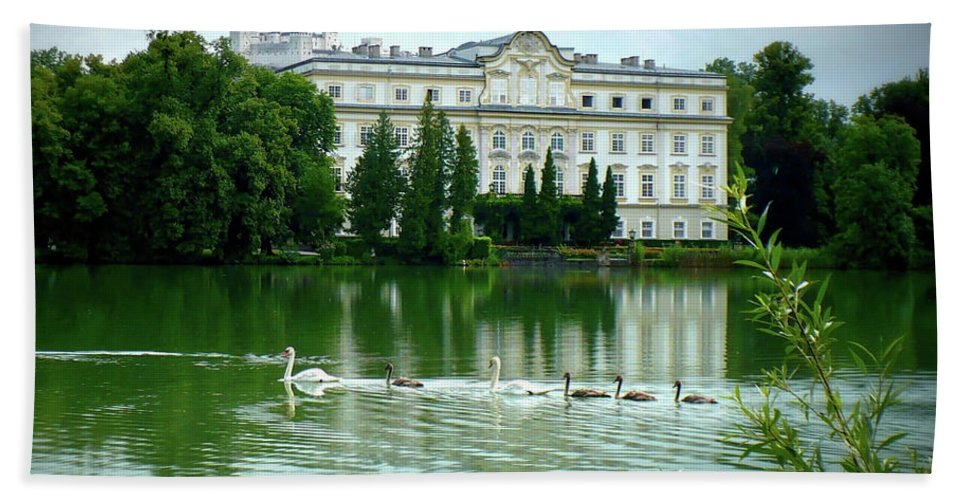 Austrian Lake Hand Towel featuring the photograph Swans On Austrian Lake by Carol Groenen