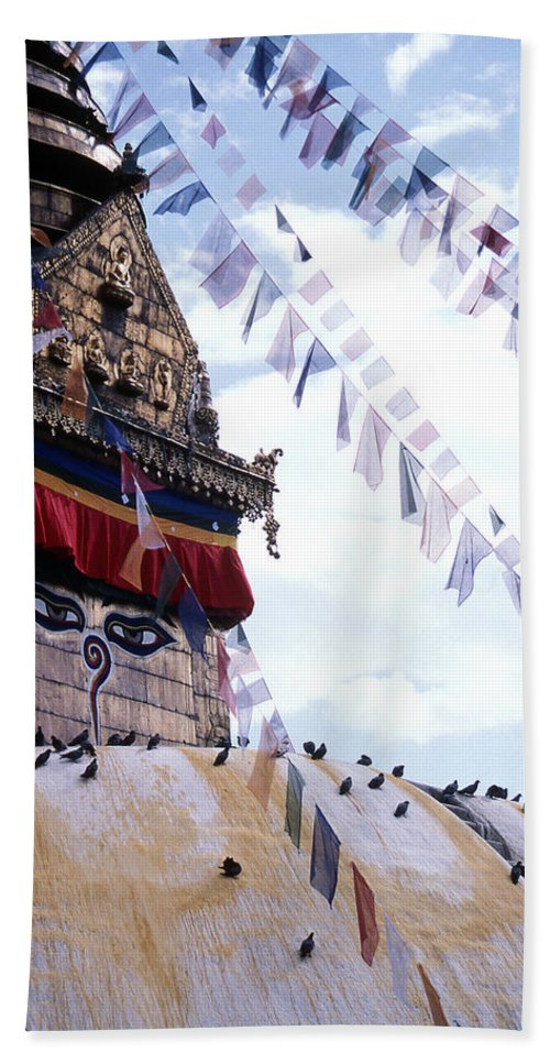 Swayambhunath Stupa Bath Sheet featuring the photograph Swayambhunath II by Patrick Klauss