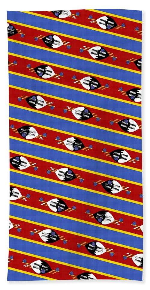 Southern Africa Bath Sheet featuring the mixed media Swaziland Flag 3 by Otis Porritt