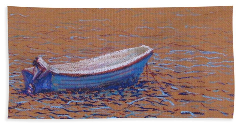 Boat Hand Towel featuring the pastel Swedish Boat by Art Nomad Sandra Hansen