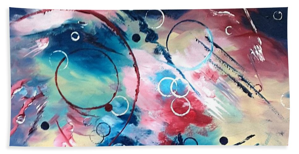 Abstract Bath Sheet featuring the painting Sweeping Breeze by Vikki McGuire