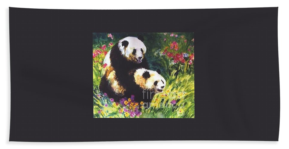 Panda Hand Towel featuring the painting Sweet As Honey by Guanyu Shi
