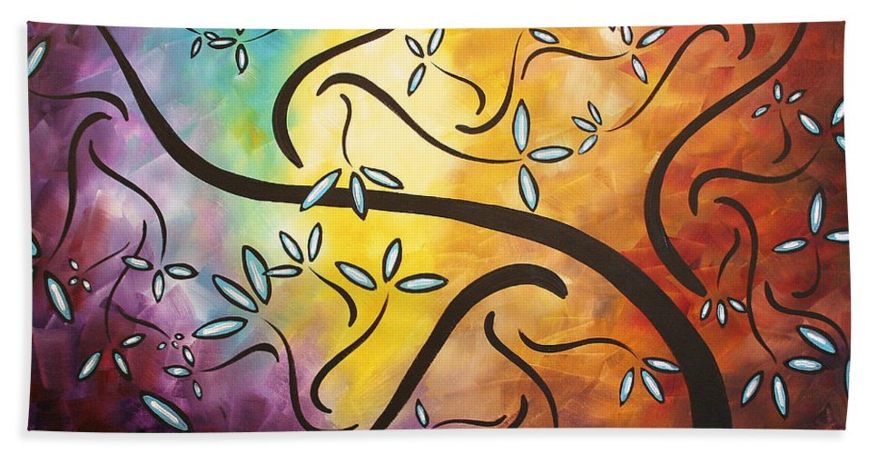 Abstract Hand Towel featuring the painting Sweet Blossom By Madart by Megan Duncanson