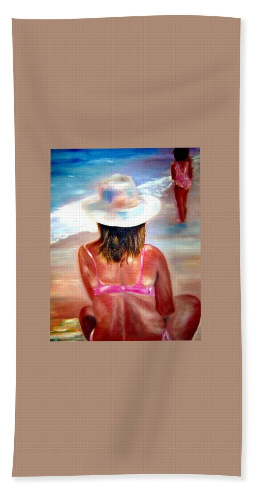 Beach Bath Towel featuring the painting Sweet Child Of Mine by Sandy Ryan