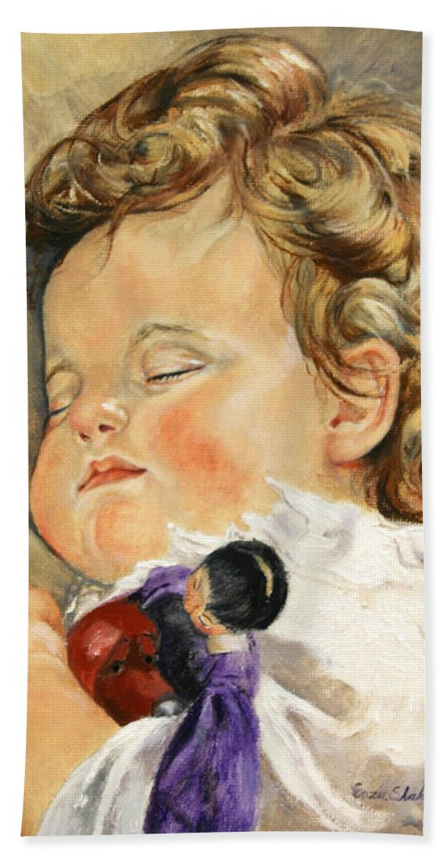 Children Portraits Bath Sheet featuring the painting Sweet Dreams by Portraits By NC