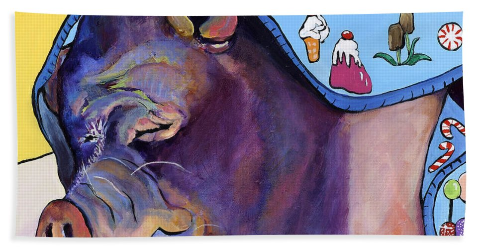 Farm Animal Bath Sheet featuring the painting Sweet Dreams by Pat Saunders-White