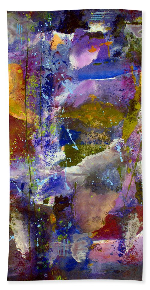 Abstract Bath Sheet featuring the painting Sweet Inspiration by Ruth Palmer