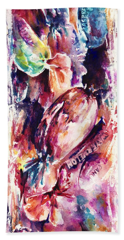 Abstract Bath Towel featuring the painting Sweet Memories by Rachel Christine Nowicki