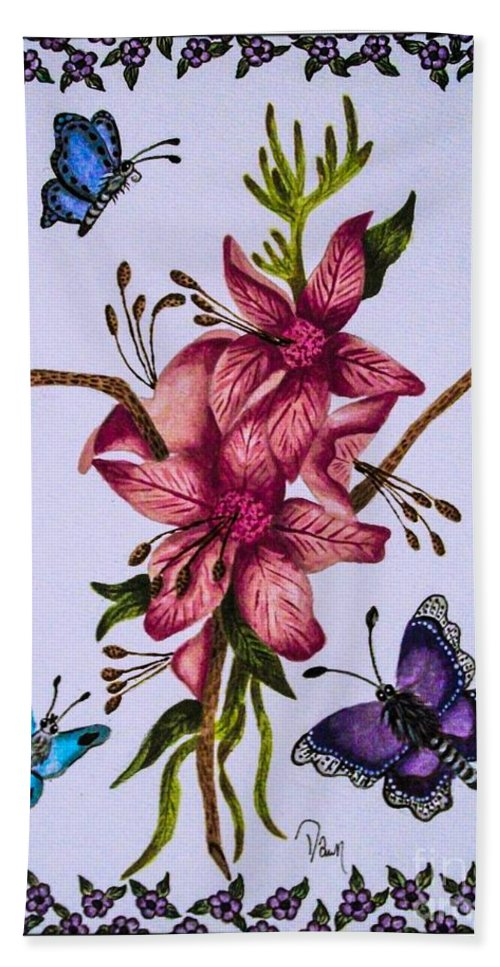 Flowers. Butterflies. Nature. Floral . Design. Bath Sheet featuring the painting Sweet Nectar by Dawn Siegler