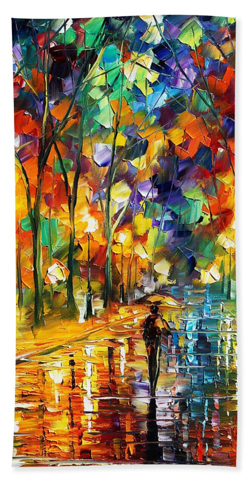 Afremov Hand Towel featuring the painting Sweet Night by Leonid Afremov