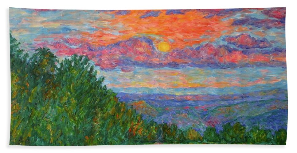 Landscapes For Sale Bath Sheet featuring the painting Sweet Pea Morning on the Blue Ridge by Kendall Kessler