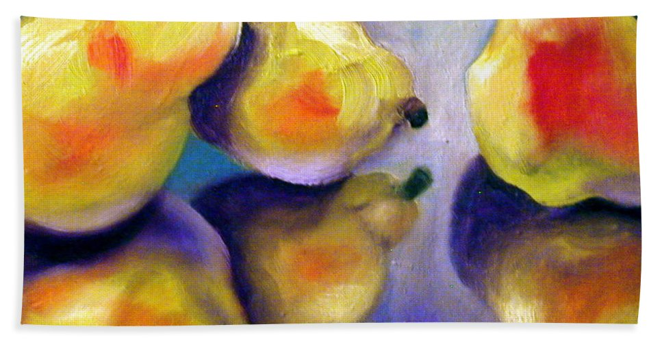 Pears Bath Sheet featuring the painting Sweet Reflection by Susan A Becker
