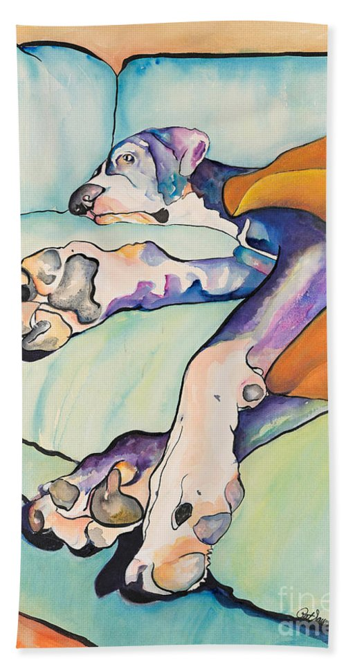 Pat Saunders-white Bath Sheet featuring the painting Sweet Sleep by Pat Saunders-White