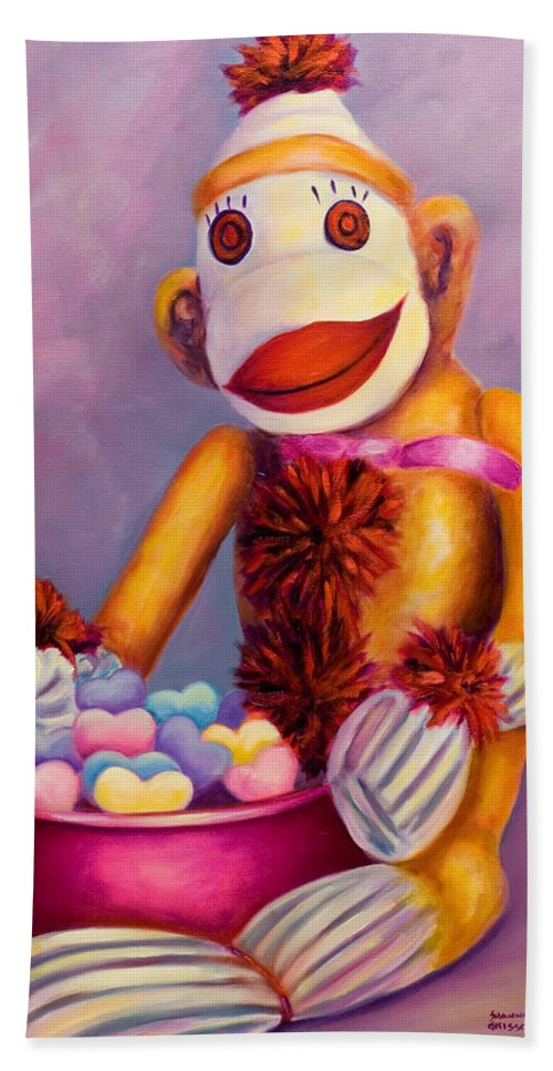 Heart Bath Towel featuring the painting Sweetheart Made Of Sockies by Shannon Grissom