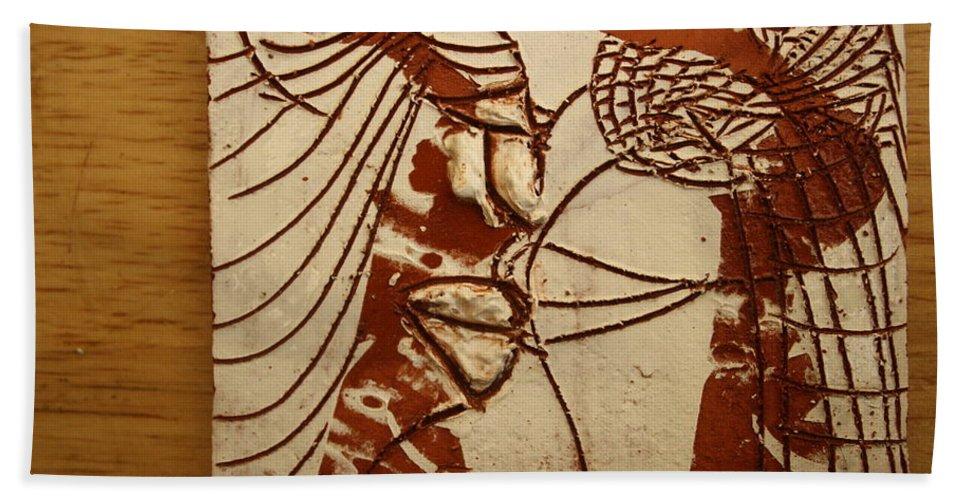 Jesus Bath Sheet featuring the ceramic art Sweethearts 13 - Tile by Gloria Ssali