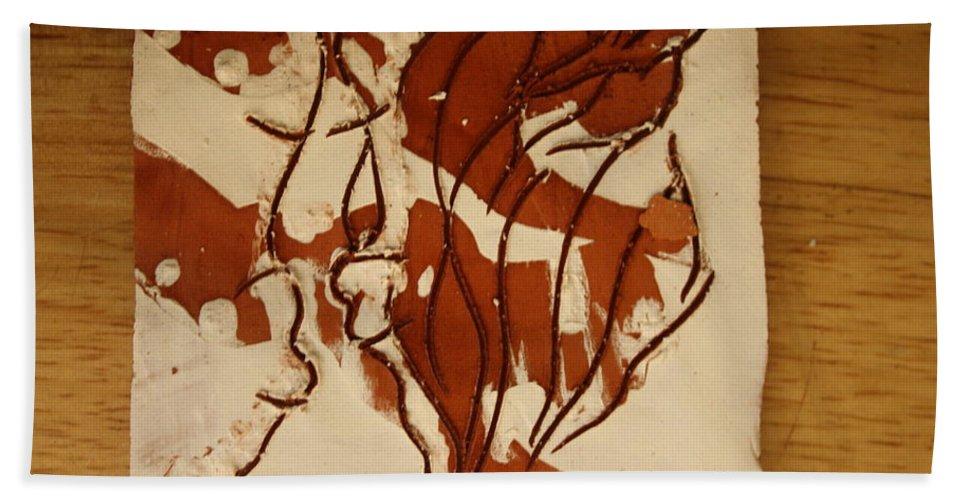 Jesus Bath Sheet featuring the ceramic art Sweethearts 15 - Tile by Gloria Ssali