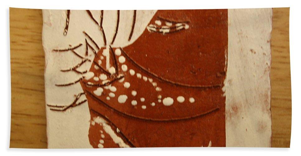 Jesus Bath Sheet featuring the ceramic art Sweethearts 7 - Tile by Gloria Ssali