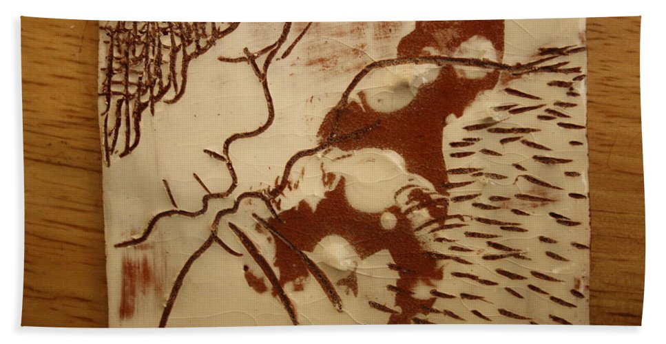 Jesus Hand Towel featuring the ceramic art Sweethearts 8 - Tile by Gloria Ssali