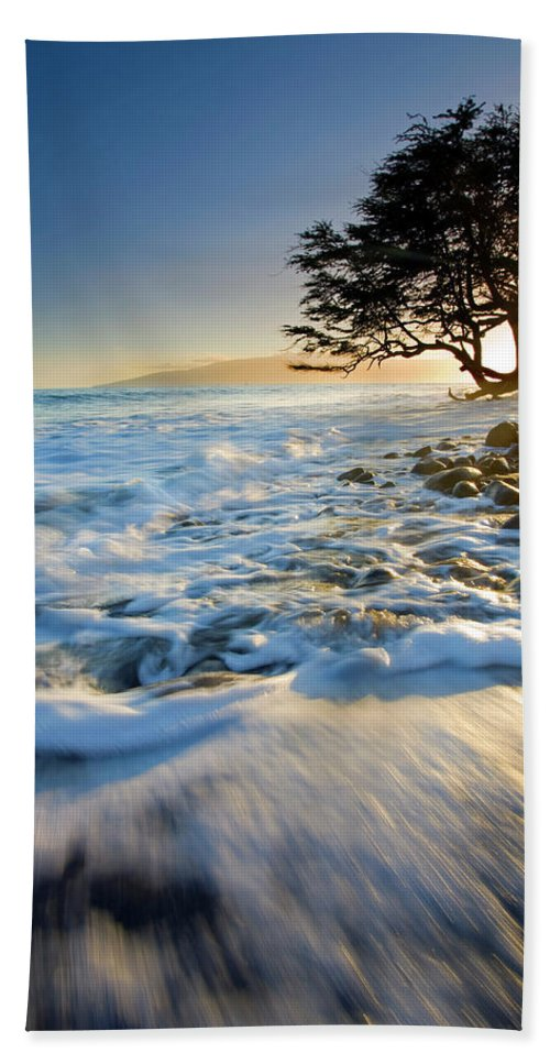 Sunset Bath Sheet featuring the photograph Swept Out To Sea by Mike Dawson