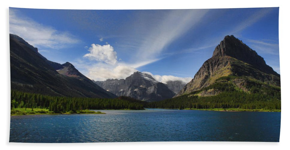 Mountains Bath Sheet featuring the photograph Swiftcurrent Lake - Glacier Np by Shari Jardina