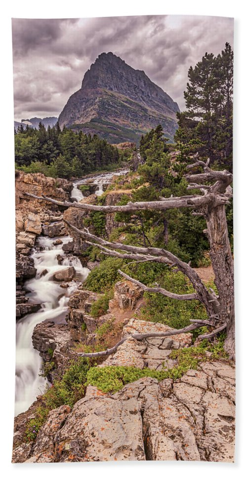 Glacier Bath Sheet featuring the photograph Swiftcurrent Lake Falls by Peter Tellone