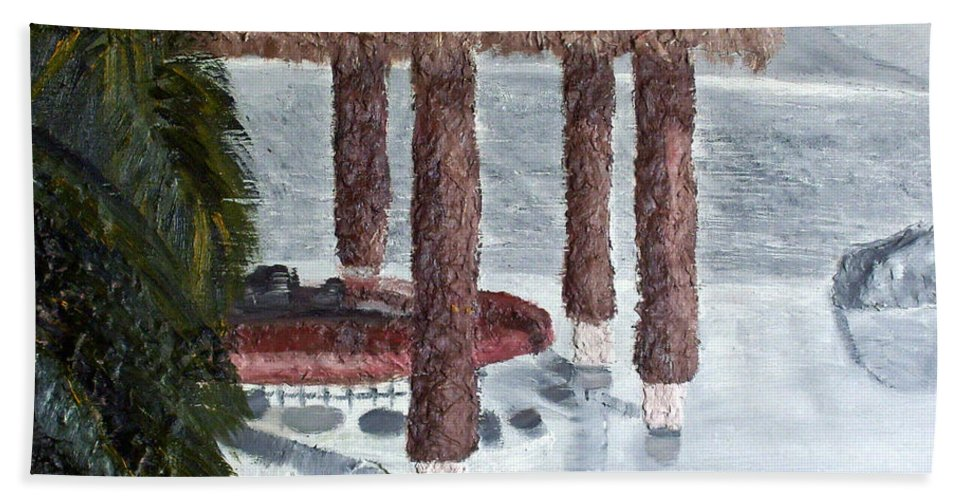 Still Life Paintings Hand Towel featuring the painting Swim To A Beach Bar Cool Huh by Leslye Miller