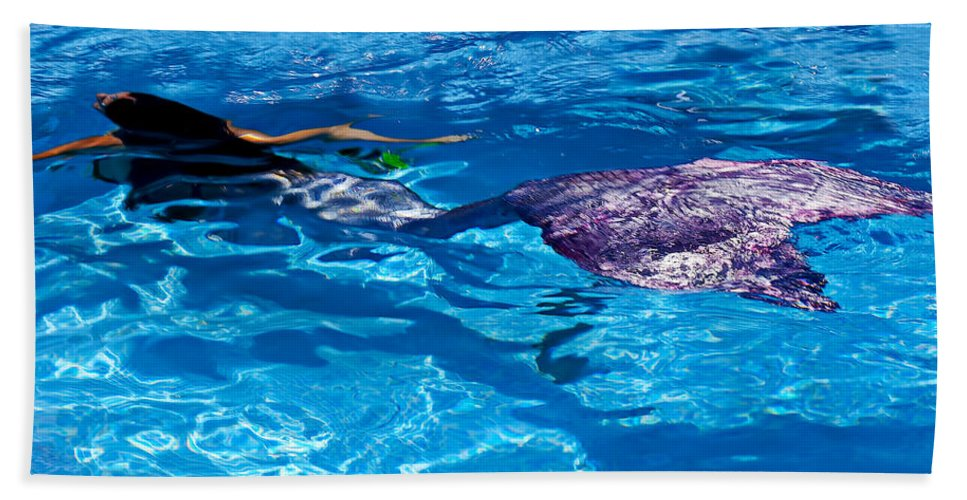 Swimming Hand Towel featuring the photograph Swimming Mermaid by Garry Gay