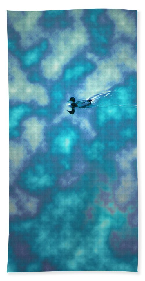 Duck Hand Towel featuring the photograph Swimming Through The Clouds by Bill Cannon