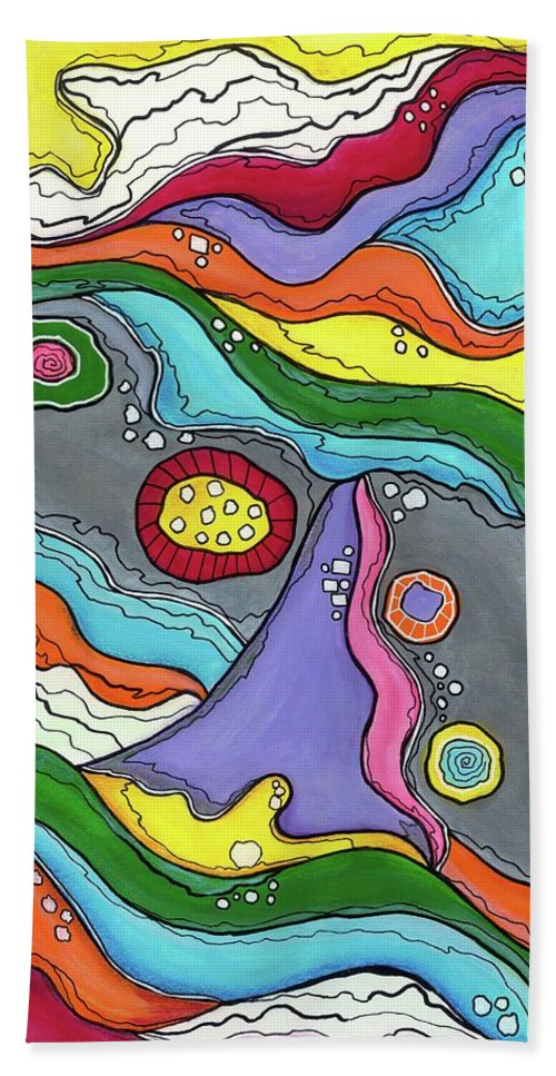 Abstract Painting Hand Towel featuring the painting Swimming Upstream by Sarena Mantz