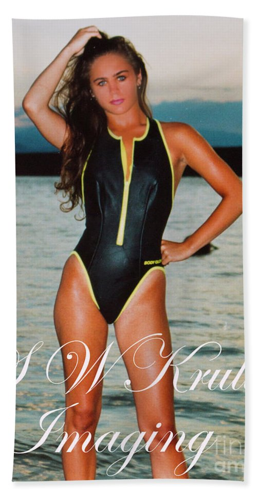Beautiful Models Bath Sheet featuring the photograph Swimsuit Girl Ad by Steve Krull