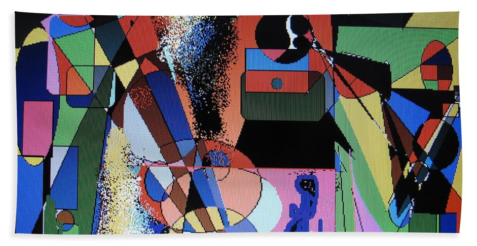Jazz Bath Sheet featuring the digital art Swinging Trio by Ian MacDonald