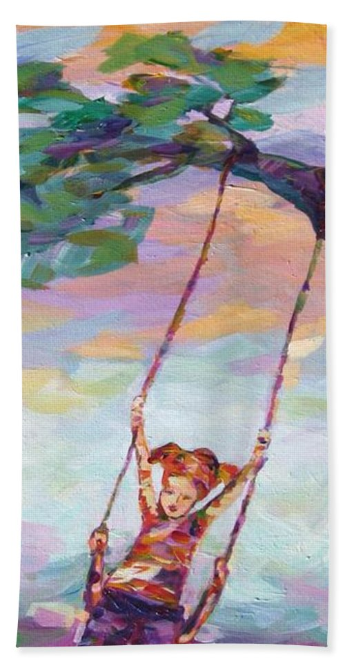 Child Swinging Bath Towel featuring the painting Swinging With Sunset Energy by Naomi Gerrard