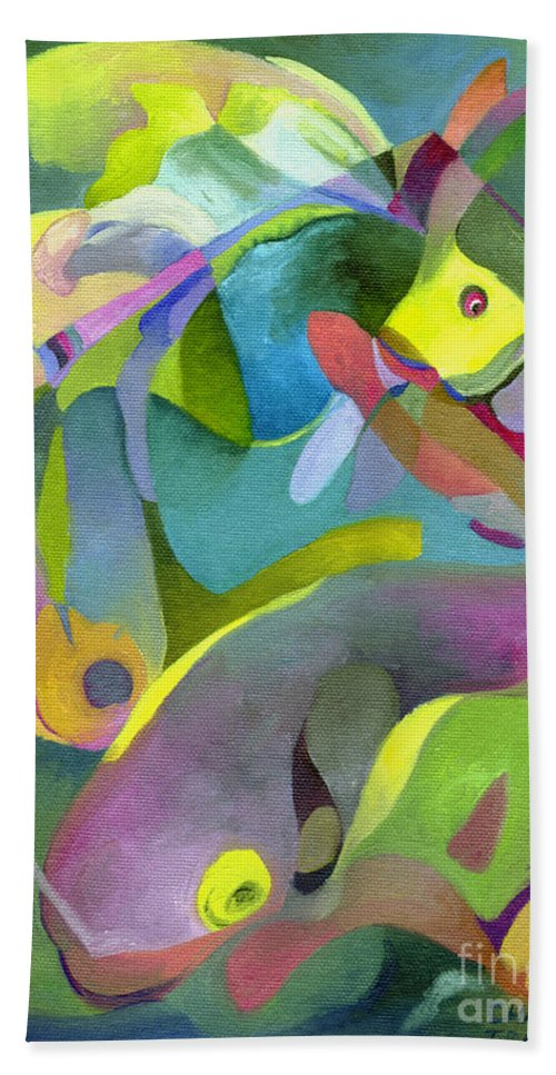 Fish Bath Sheet featuring the painting Swirling Fish by Sally Trace