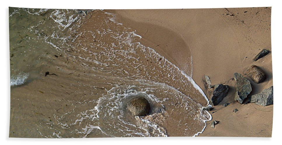 Big Sur Hand Towel featuring the photograph Swirling Surf And Rocks by Charlene Mitchell