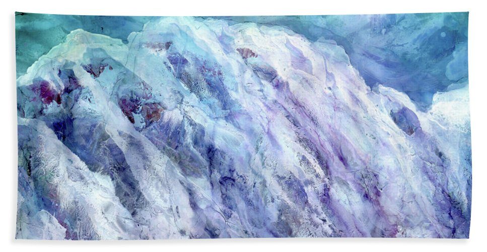 Mountains Hand Towel featuring the mixed media Swiss Alps - My Interpretation by Eunice Warfel