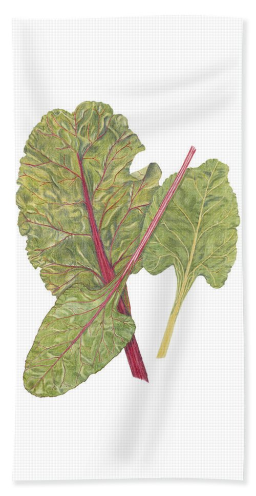 Swiss Chard Hand Towel featuring the painting Swiss Chard by Diane Inman