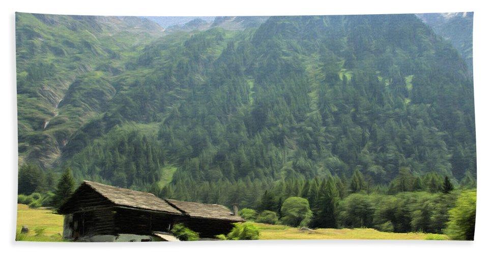 Switzerland Bath Sheet featuring the painting Swiss Mountain Home by Jeffrey Kolker