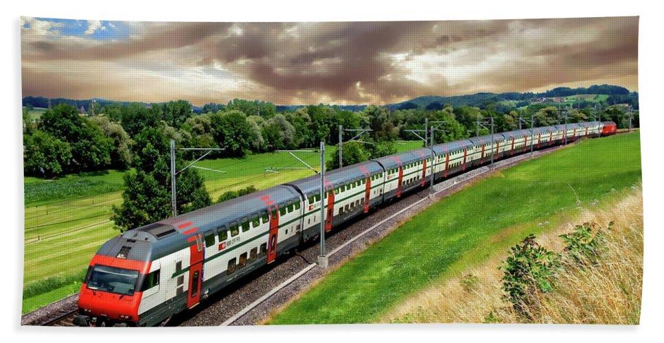 Railroad Bath Sheet featuring the photograph Swiss Passenger Train by Anthony Dezenzio