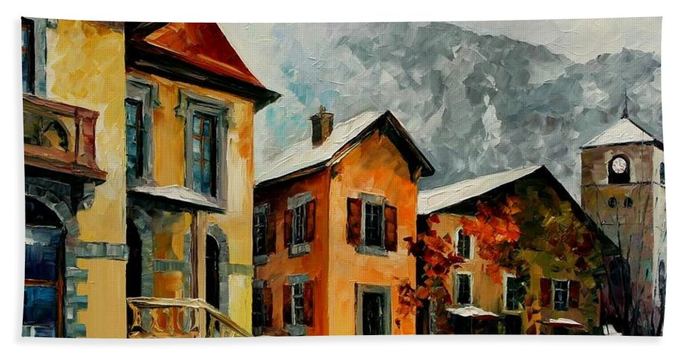 Afremov Bath Sheet featuring the painting Switzerland - Town In The Alps by Leonid Afremov