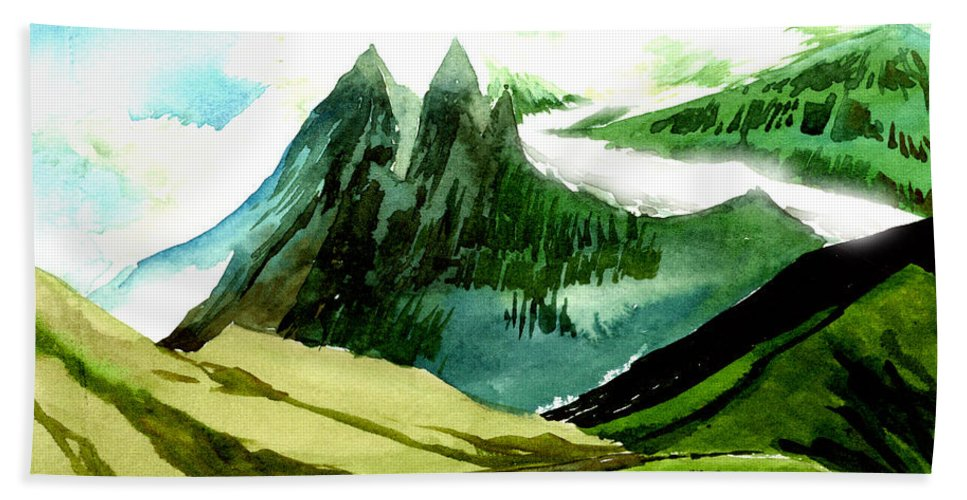 Landscape Bath Sheet featuring the painting Switzerland by Anil Nene