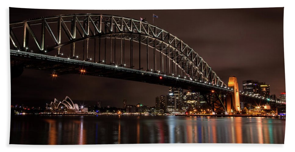 Sydney Bath Sheet featuring the photograph Sydney Harbor At Night With Train by John Daly