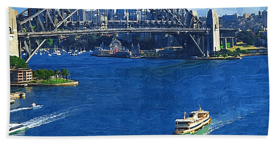 Sydney Bath Sheet featuring the photograph Sydney Harbor Bridge by Tom Reynen