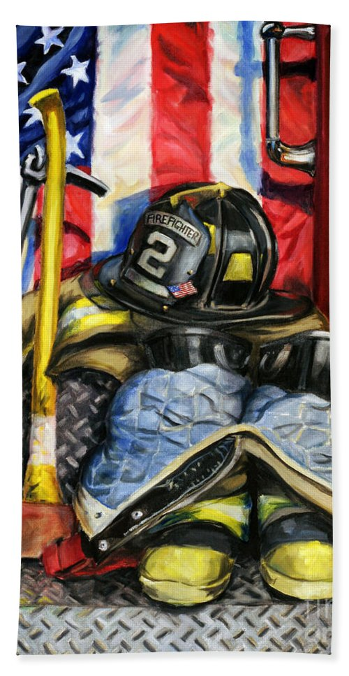 Firefighting Bath Towel featuring the painting Symbols Of Heroism by Paul Walsh