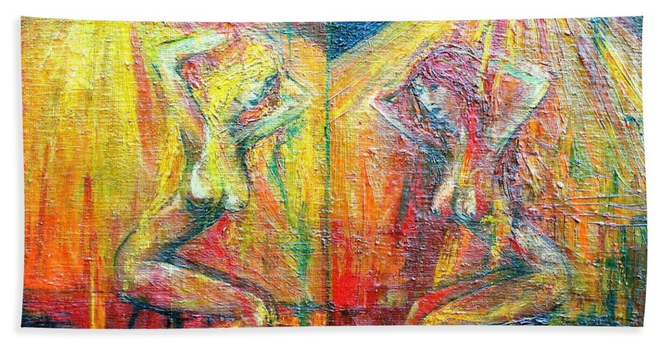 Colour Hand Towel featuring the painting Symmetry by Wojtek Kowalski