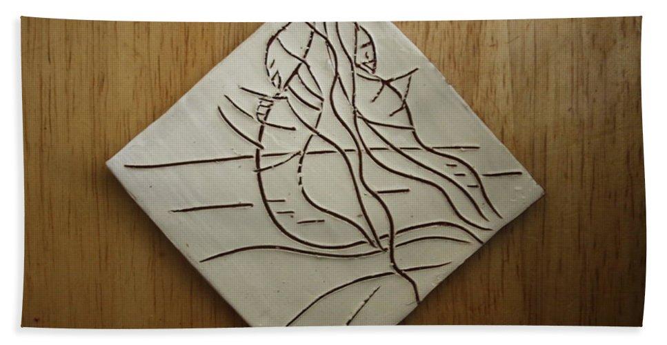 Jesus Bath Sheet featuring the ceramic art Sympathy - Tile by Gloria Ssali