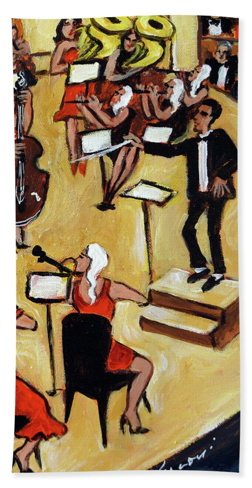 Carnegie Hall Orchestra Hand Towel featuring the painting Symphony by Valerie Vescovi