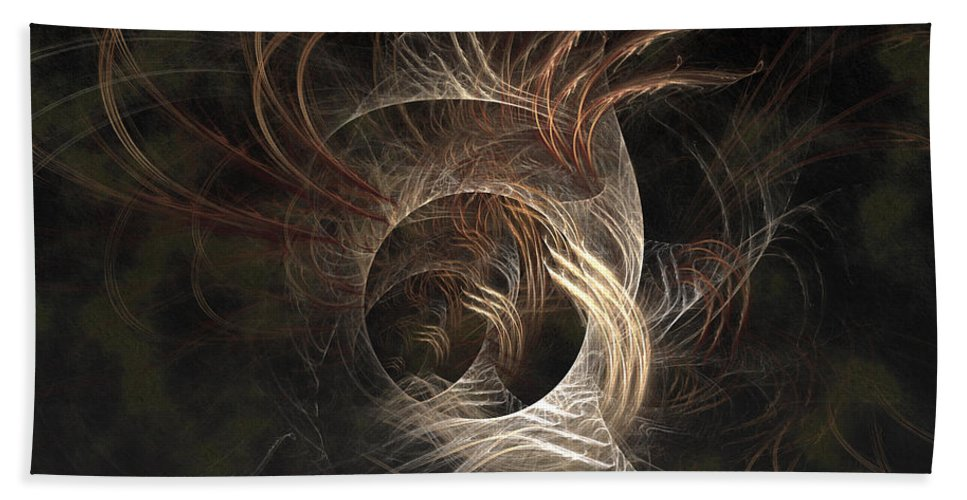 Abstract Hand Towel featuring the digital art Synaptic by Casey Kotas