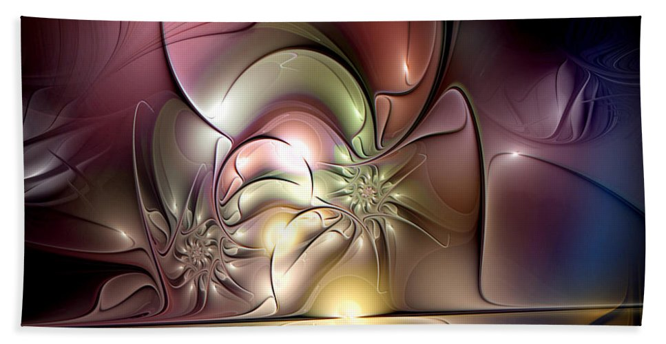 Abstract Hand Towel featuring the digital art Synergetic Hypothesis by Casey Kotas