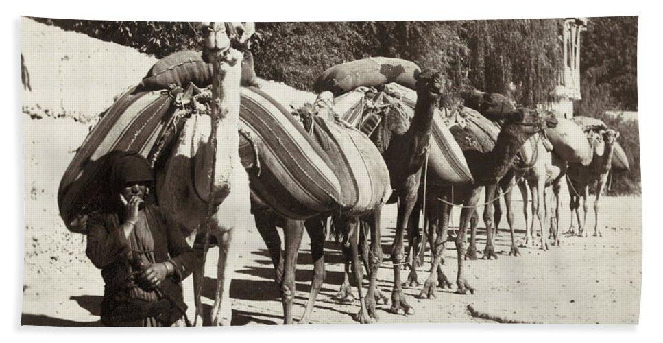 1890 Bath Sheet featuring the photograph Syria: Caravan, C1900 by Granger